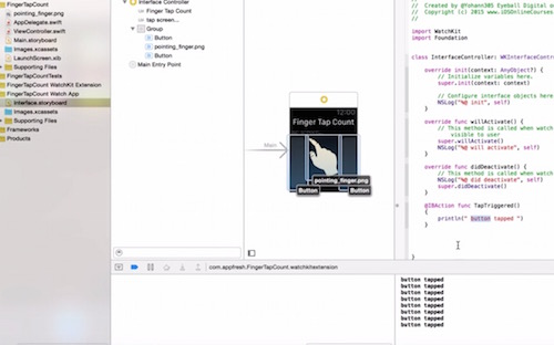 Write code logic WKInterfacebutton fingertap swift tutorial